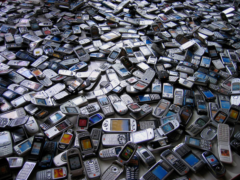 Discarded mobile phones illustrating designing for longevity